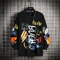 Neue Herren Sweatshirt Lässige Hoodies 2021 Frühling Graffiti Übergroßen Japanischen Hip Hop Streetwear Männer Lose Sweatshirts Pullover Top