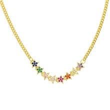 Cor de ouro moda feminina arco-íris pedra jóias delicada flor estrela zircônia cúbica gargantilha corrente lariat camada colar