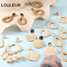 Multiple Style 2019 Korea Handmade Bamboo Braid Pendent Drop Earrings New Fashion Rattan Vine Knit Long Earrings For Women Girl(China)
