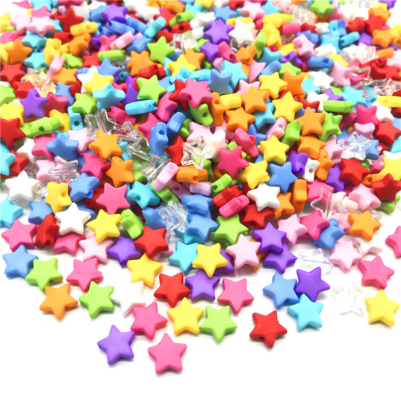 100pcs 9mm Acrylic Spacer Beads Five-pointed Star Rainbow Color Beads For Jewelry Making(China)