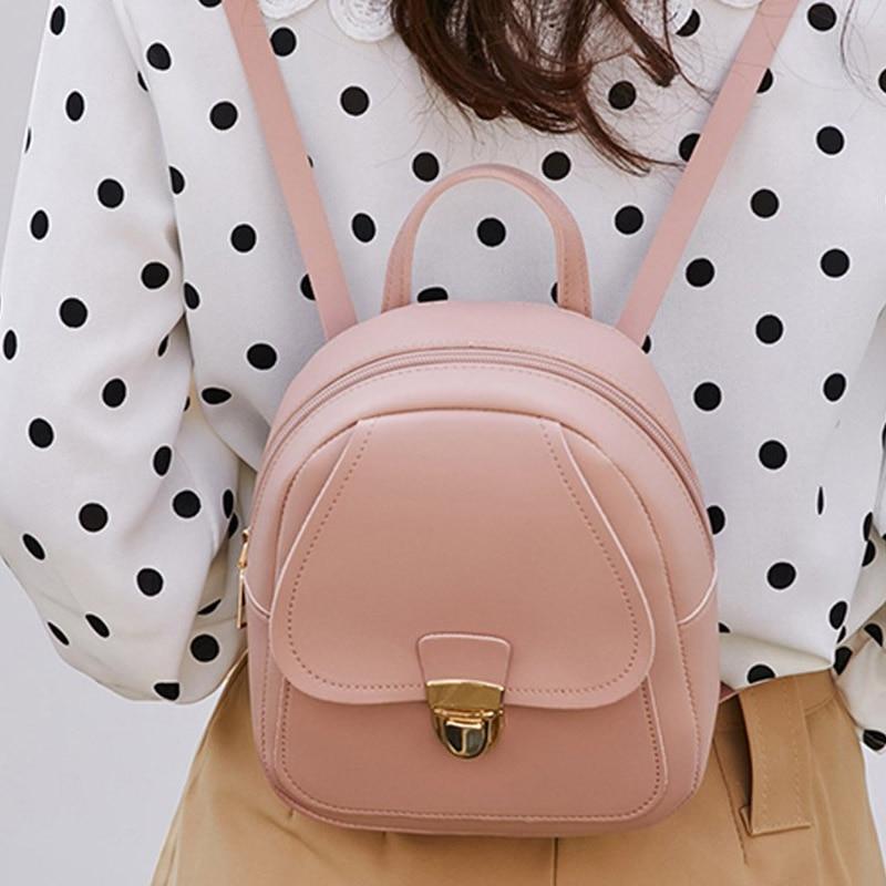 Women's Leather Backpack Small  Travel School Bags Teenage Girl Mini Bagpacks Shoulder  Mochila Feminina Bolsa Feminina 2020
