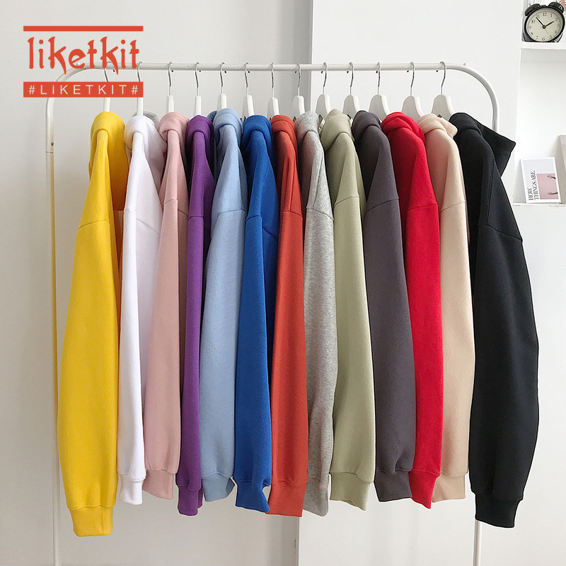 Liketkit 2019 Men's Autumn Winter Hoodies Men Women Solid Color Simple Warm Hooded Pullover Couples Loose Streetwear 13 Colors