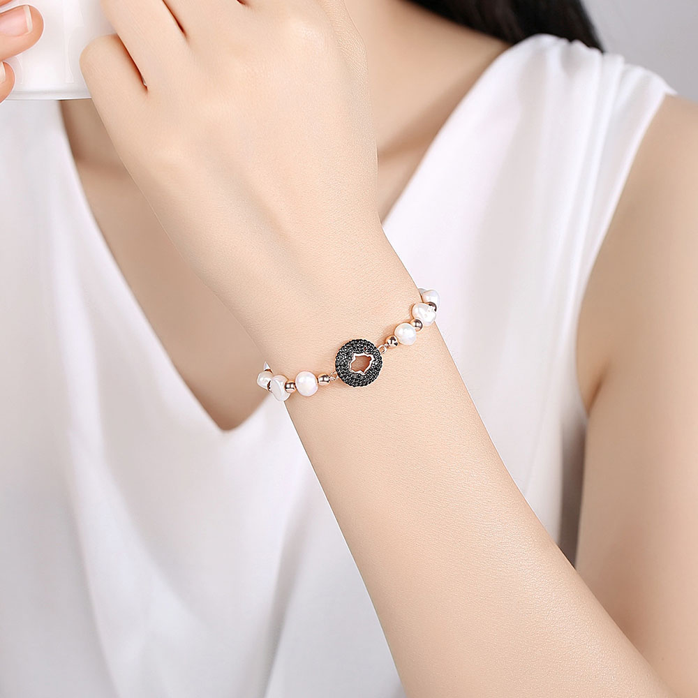 Genuine Natural Freshwater Pearl Bracelets Bangles For Women with Gold color Ball Jewelry Gift