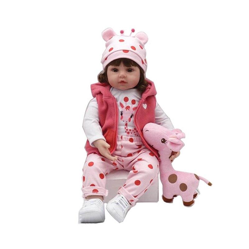 Original Npk 47Cm Baby Puppe Kleinkind Weiche Silikon Reborn Baby Puppen Tuch Körper Lockiges Haar Lebensechte Für Überraschung Mädchen geschenke Puppe