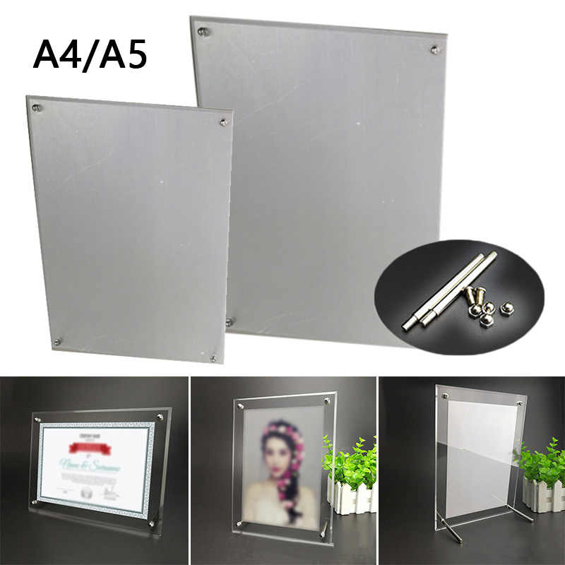 A5/A4 Acrylic Photo Frame Certificate Camp Poster Display Stand W/ 1 Set Nails For Homes,offices,cafes,bars,hotels Decorations