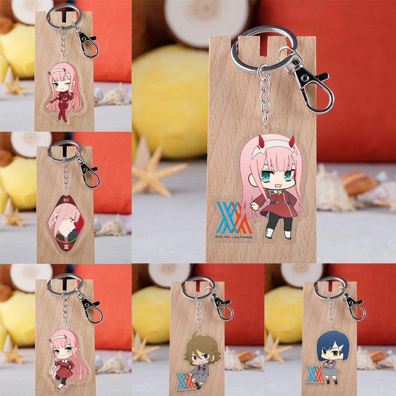 Anime DARLING In The FRANXX Acrylic Keychain Cartoon Cute Otaku Keyring Gift