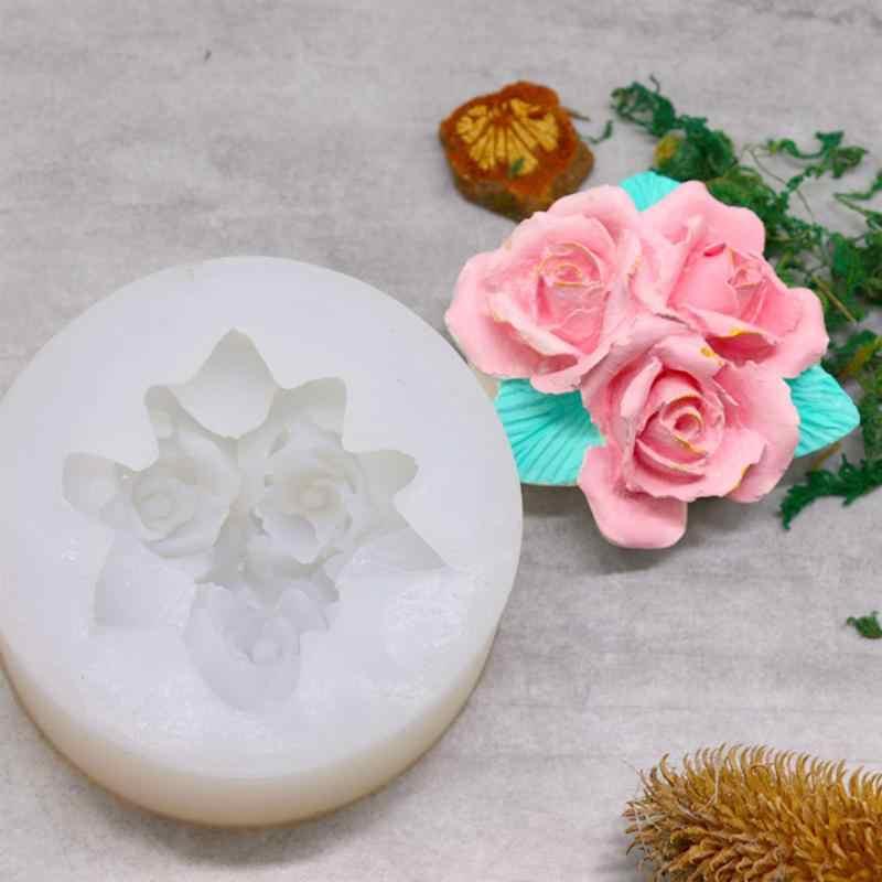 עלה פרחי סיליקון עובש 3D ורדים שוקולד פונדנט עובש עוגת כלים לקשט פונדנט אפיית עובש קישוט כלים DIY