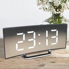 Réveil numérique pour Table de bureau, alarme incurvée à écran LED, avec fonction Snooze de température pour chambre d'enfant, décoration de la maison