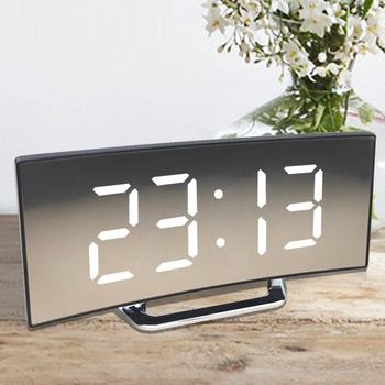 Digital Alarm Clock Desk Table Clock Curved LED Screen Alarm Clocks for Kids Bedroom Temperature Snooze Function Home Decor