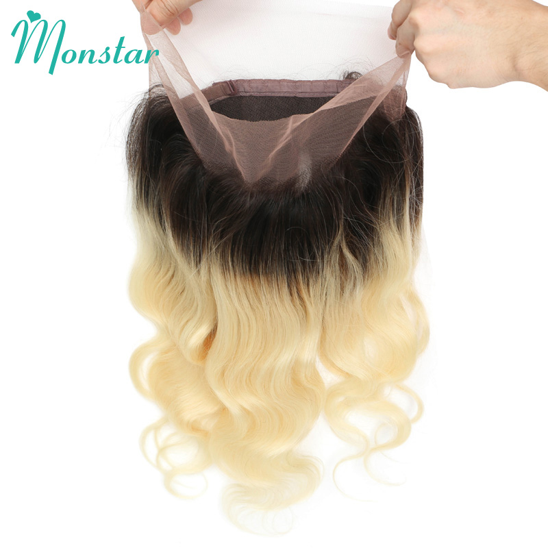 Monstar Swiss Lace Frontal 360 Brazilian Body Wave Frontal with Baby Hair Remy Human Hair 1B 613 Ombre Closure Frontal Free Part(China)