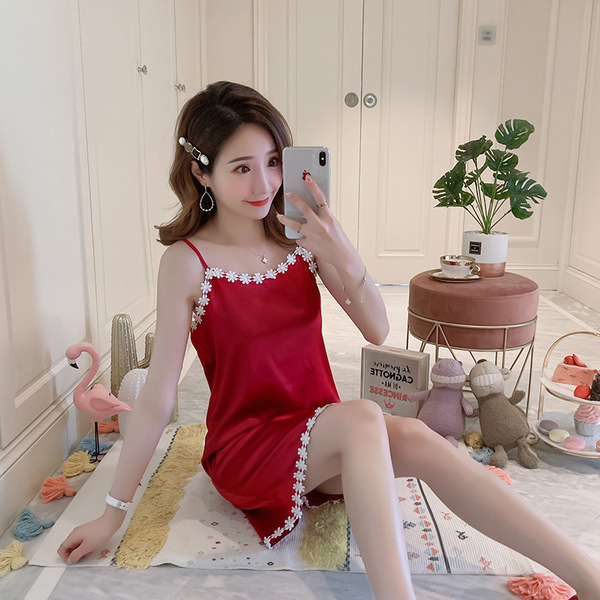 2019 Summer Viscose Nightgown Women's Summer Imitated Silk Fabric Sexy Lace Solid Color Camisole Pajamas Skirt Low Price