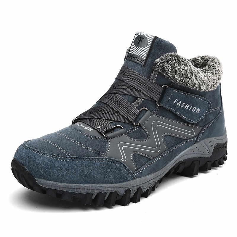 Брендовые мужские замшевые Теплые ботильоны на меху; кожаные мужские ботинки; мужские зимние водонепроницаемые ботинки