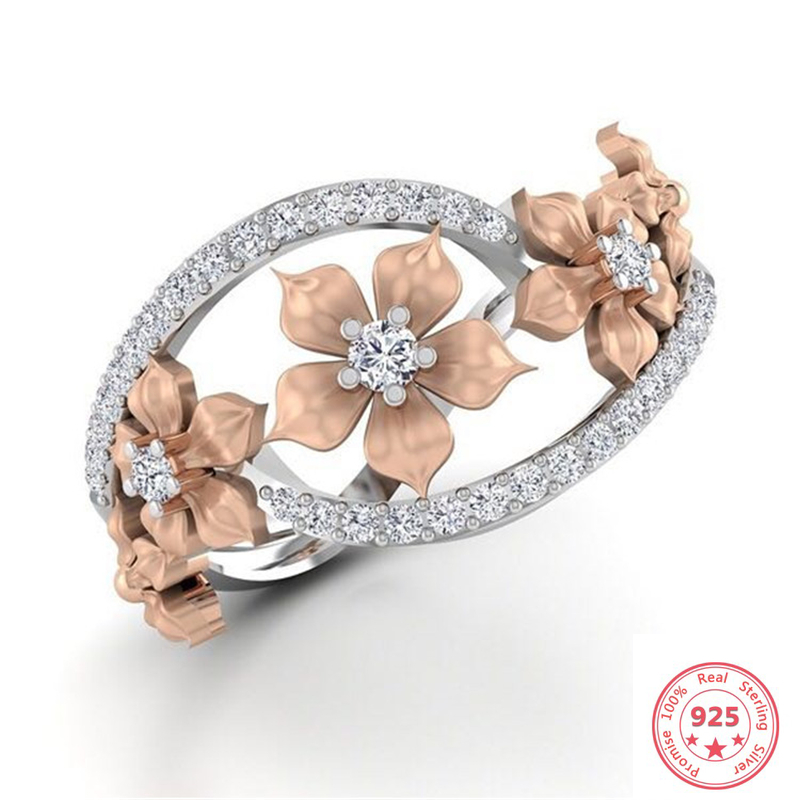 925 Silver Color Flower Shape Diamond Ring For Women Luxury Anillos Wedding Bizuteria Topaz Gemstone S925 Silver Jewelry Ring