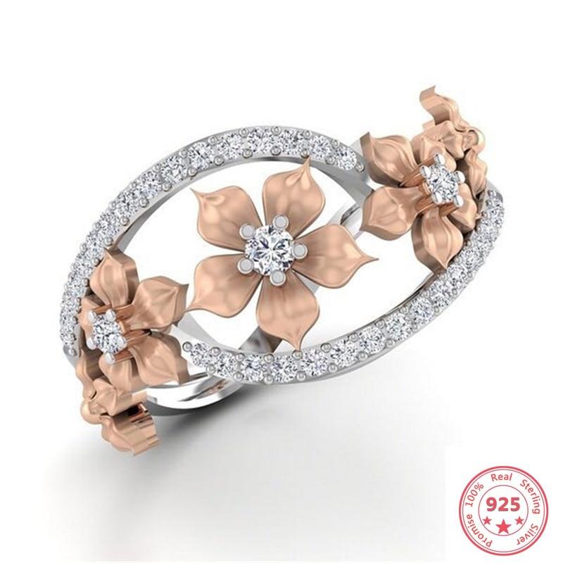 925 Sliver Flower Shape Diamond Ring For Women Luxury Anillos Wedding Bizuteria Topaz Gemstone S925 Sliver Jewelry Ring With Box