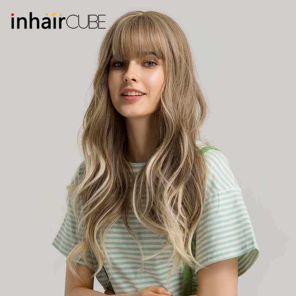 "Inhaircube 24'""Long Water Wavy Ombre Brown Blond Synthetic Wigs For Women With Bangs Fluffy Air Bangs Light Hair Free Shipping"