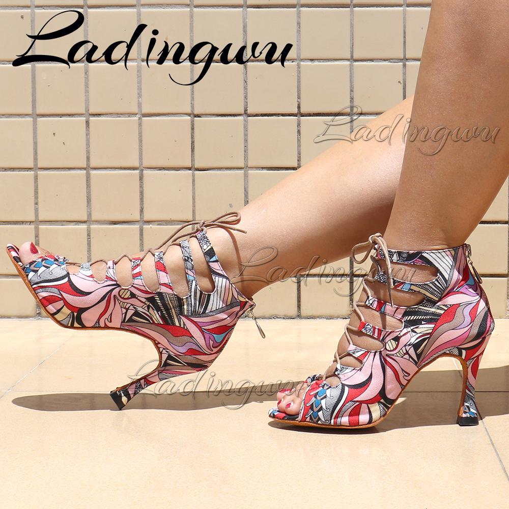 Creative Graffiti Denim Dance Boots Soft Bottom Dance Shoes Zipper Women's sandals Latin Salsa Dance Shoes Blue/Red/Yellow