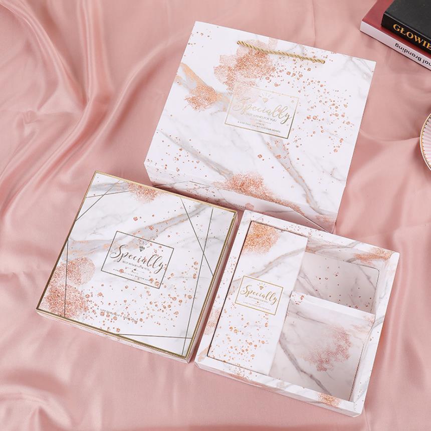 Décorations de mariage sacs-cadeaux avec poignées en marbre faveurs de mariage sac en papier coffret cadeau coffret commission boîtes d'expédition boîte d'emballage - 5