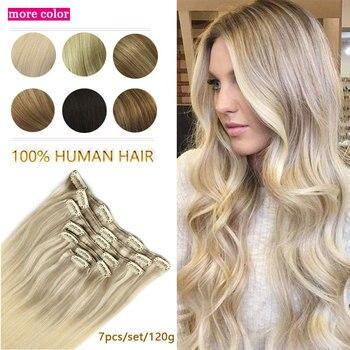 Clip In Human Hair Extensions Remy Haar Natuurlijke Zwarte Tot Lichtbruin Honing Blonde Ombre Straight Hair Extensions 20 Inch 120G