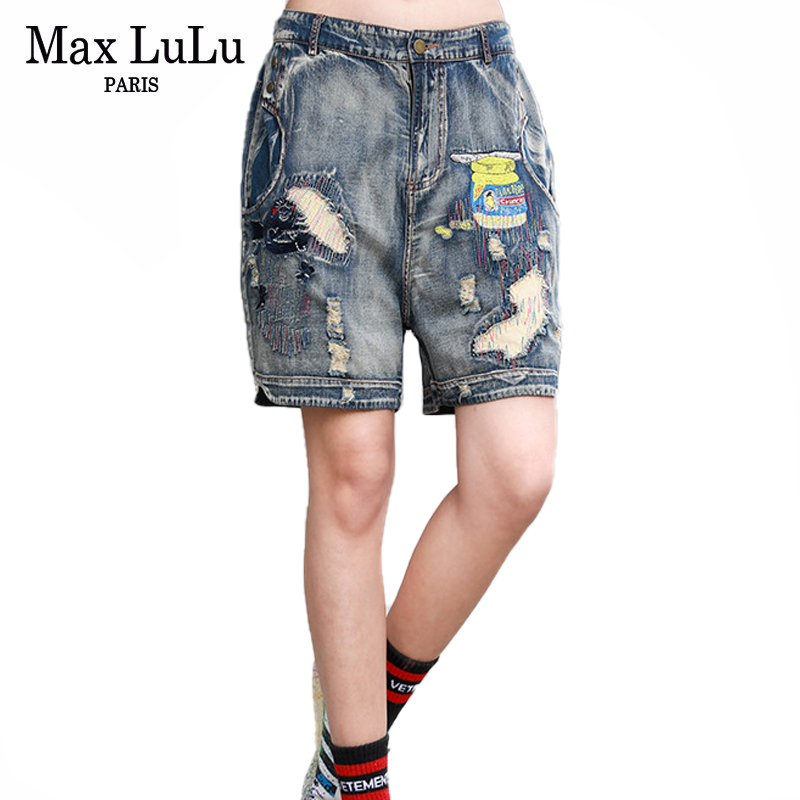 Max LuLu New 2020 Summer Fashion Streetwear Ladies Vintage Short Pants Womens Patchwork Jeans Female Loose Ripped Denim Trousers