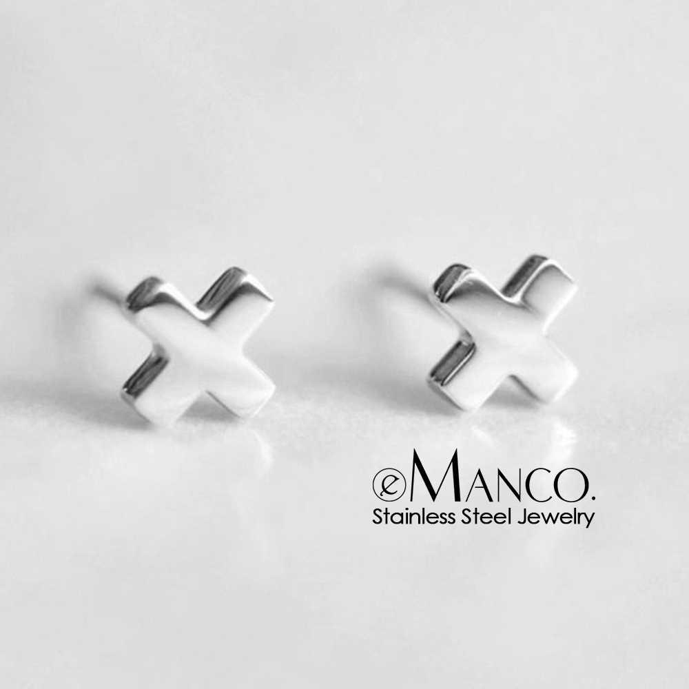 EManco 316L серьги-гвоздики из нержавеющей стали для женщин минималистичный крест маленькие серьги-гвоздики золотого цвета модные ювелирные изделия