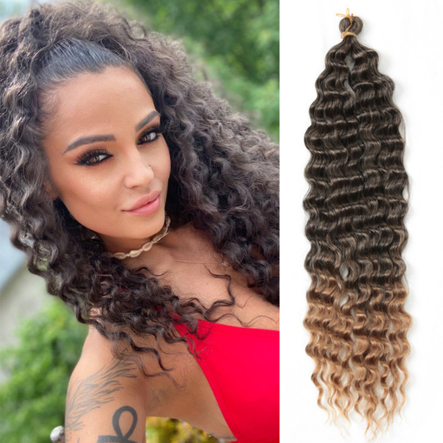22inch-28inch Long Deep Wave Twist Crochet Hair Synthetic Braiding Hair Curl Wave Extensions For Black Women Golden Beauty