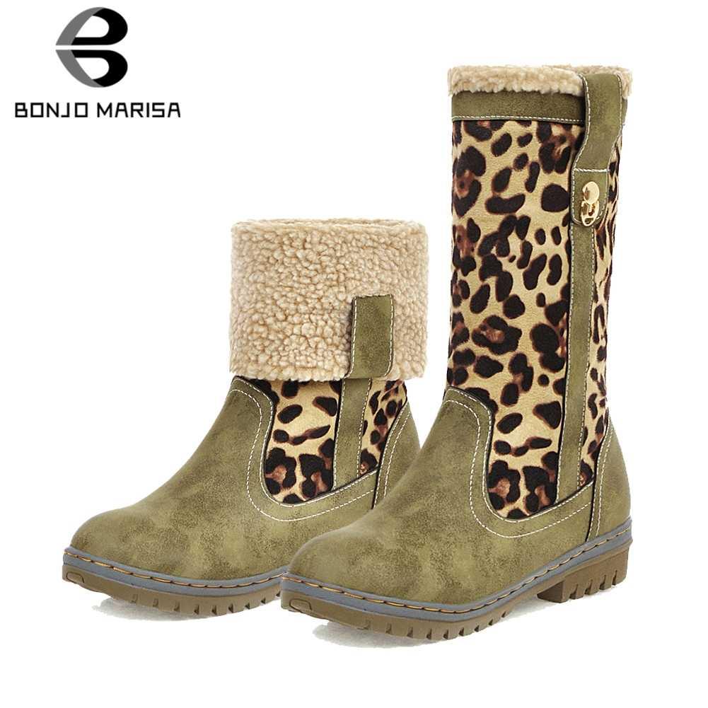 BONJOMARISA Yeni Sıcak Satış Artı Boyutu 34-48 Leopar Patik Bayan Kış sıcak Kaymaz yarım çizmeler Kadınlar 2019 düşük Topuklu Ayakkabılar Kadın