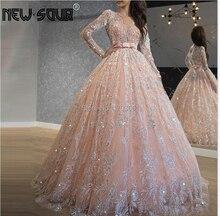 Sparkly Rosa Nahen Osten Prom Kleider Jewel Neck Süße 16 Kleid Lange Formale Abendkleid Türkisch Islamische Robe De Soiree 2020