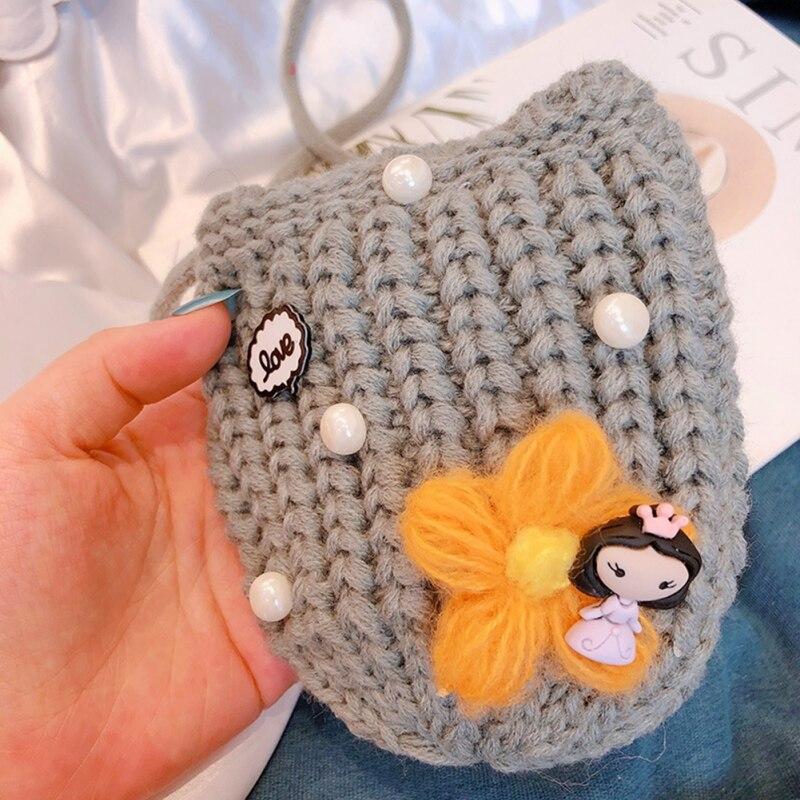 Детская сумка для девочек с милым мультяшным жемчугом, Вязаная Детская сумка через плечо, сумки через плечо, сумка-мессенджер
