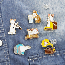 Cat Kindergarten Enamel Pins Fruit Cats Badge Custom Brooches Bag Clothes Lapel Pin Cartoon Animal Jewelry Gift