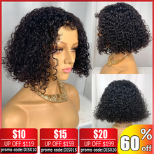 Brazilian curly human hair wig 13x4 Lace front wig Bob lace front Wigs Short Lace Front Human Hair Wigs For Black Women Non-Remy цена 2017