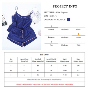 Image 5 - Suphis Contrast Stripe Side Navy Cami Top Satin Shorts Suits Female Summer Home Clothes Women Pajama Set Sexy Sleepwear