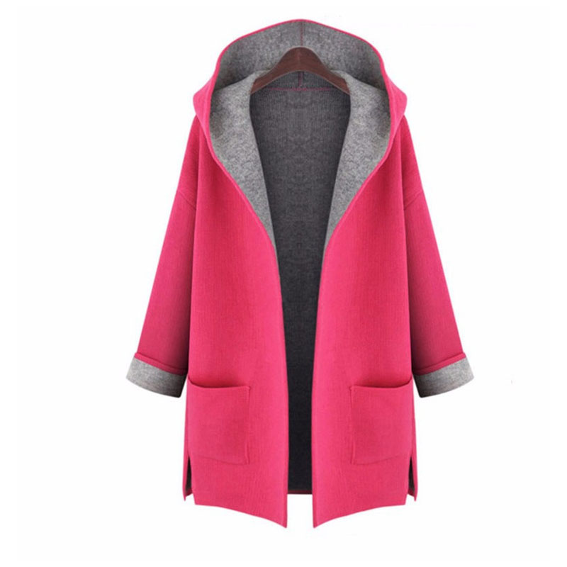 Women's Windbreaker New Extra Large Loose Ultra-thin Stitching Large Size Hooded Cardigan Wool Windbreaker Fat MM