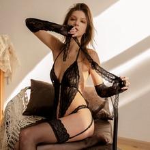 Sexy Dessous Hohl Spitze Perspektive Bh Schlinge Tops und Shorts Unterwäsche Set Frauen Pyjamas Nachtwäsche mit Maske Handschuhe