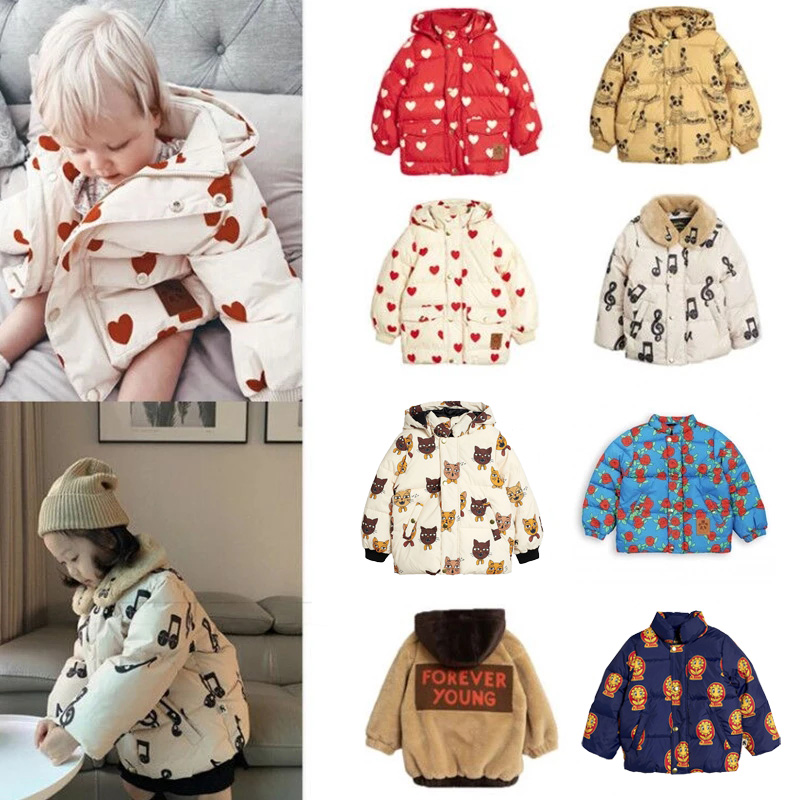 2021 New Mini Kids Winter Clothes Boys Clothes Down Jackets Hoodie Warm Baby Girls Fur Coats Cotton Outwear Tops Bubble Coat 1