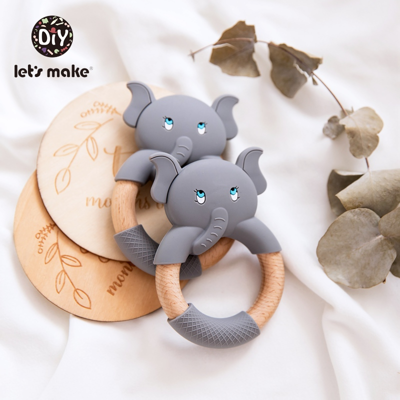 Let's Make 1pc Baby Wooden Teether Food Grade Beech Wood Teething Ring Elephant Bpa Free Silicone Animal 4-6 Months Baby Teether