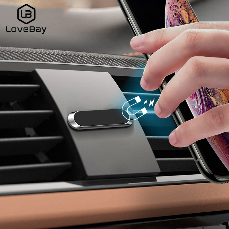 Lovebay Mini Magnetic Car Phone Holder Universal For IPhone Samsung Huawei Strip Shape Wall Metal Magnet GPS Car Mount Panel