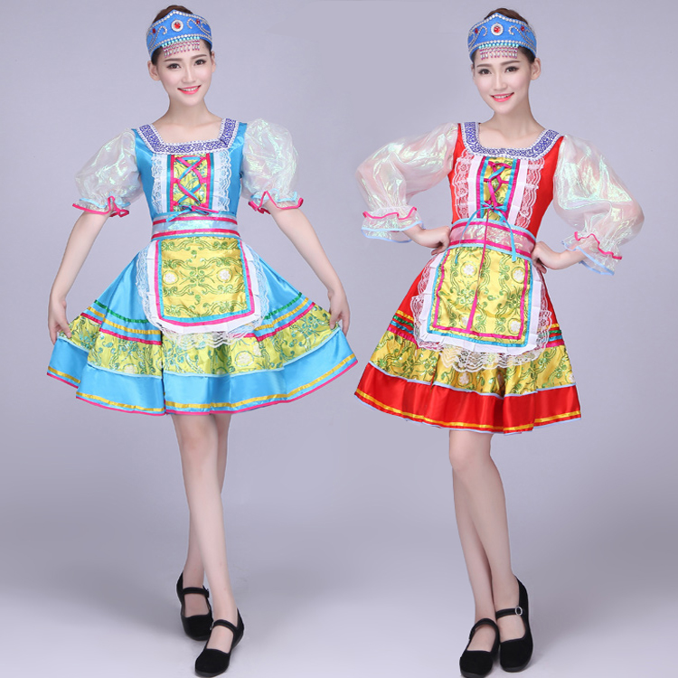 Songyuexia Woman Tradition Russian Tatar Uzbek Buick Singer Folk Dance Performance Apparel Clothing Stage Dance Clothing