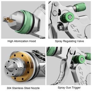Image 5 - Professionale HVLP pistola A Spruzzo della Vernice della Pistola Kit 600ML 1.4/1.7/2.0 millimetri Ugello di Gravità Pneumatico Vernice Nebulizzatori Per auto Kit di Strumenti di Riparazione