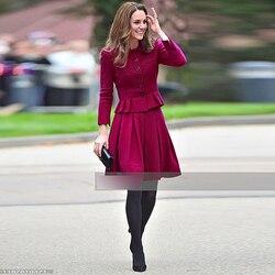 Kate Middleton di Nuovo Modo di Alta Qualità Monopetto Mezzo Allentato Superiore Del Pannello Esterno Dell'annata Elegante Chic Partito di Lavoro Casual Delle Donne Set