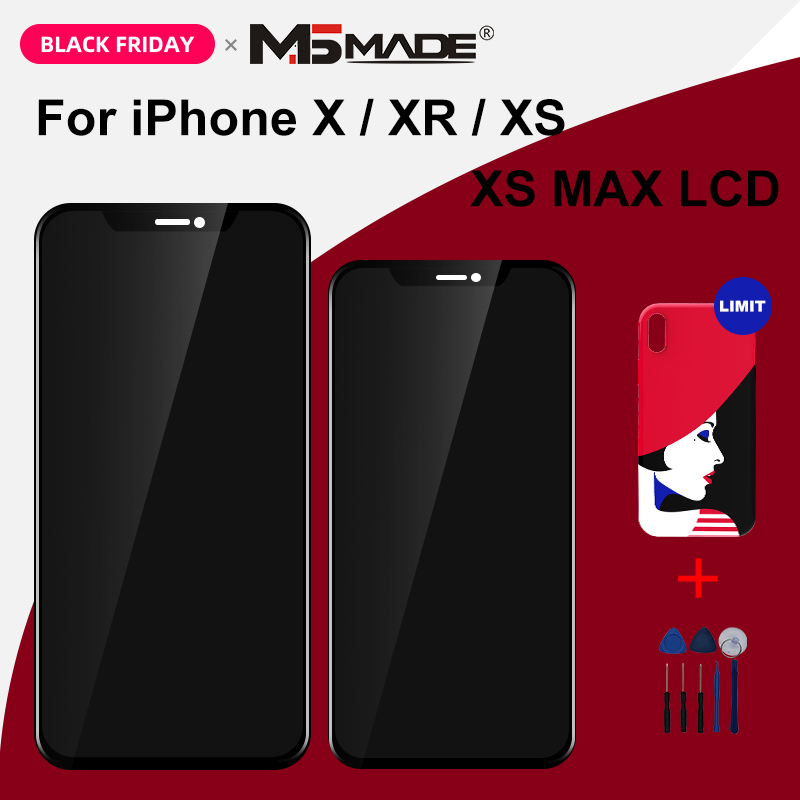 Cep telefonları ve Telekomünikasyon Ürünleri'ten Cep Telefonu LCD'leri'de AAAAA OEM OLED iPhone X XS XR XS MAX dokunmatik LCD ekran ekran değiştirme 3D dokunmatik Digeiter meclisi parçaları ücretsiz kılıf title=