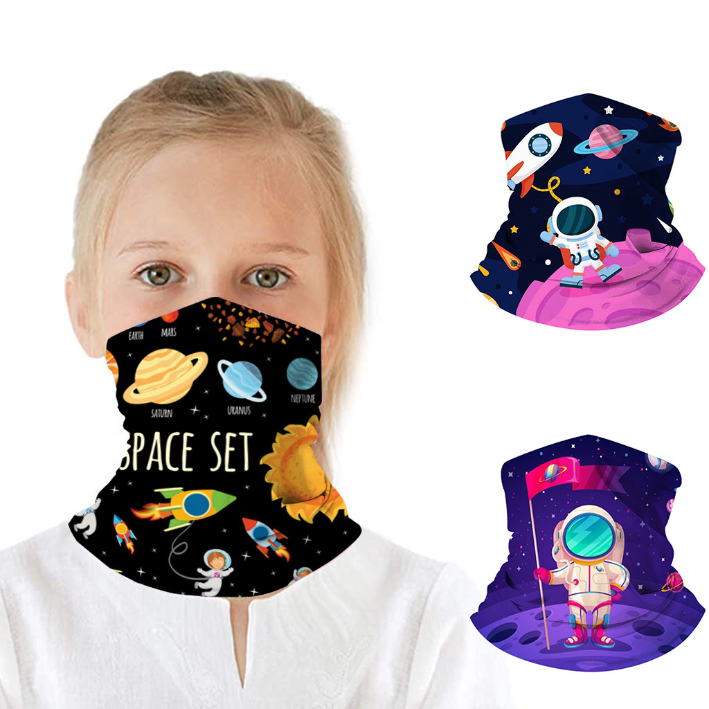 25# 3pc Kids Headscarf Face Mask Reusable Washable Half Face Cover Scarf Protective Masks Gifts For Kids Headband Neck Scarf(China)