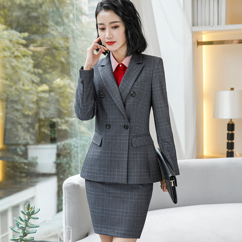 Plaid Formal Elegant Uniform Styles Blazers Suits Two Piece with Tops and Skirt for Ladies Office Work Wear Jacket Blazer Sets