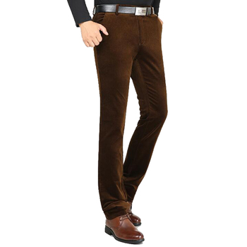 Autumn Winter Straight Slim Casual Pants Men High Waist Trousers Corduroy Trousers High Quality Thicken Elastic Cotton Size 42