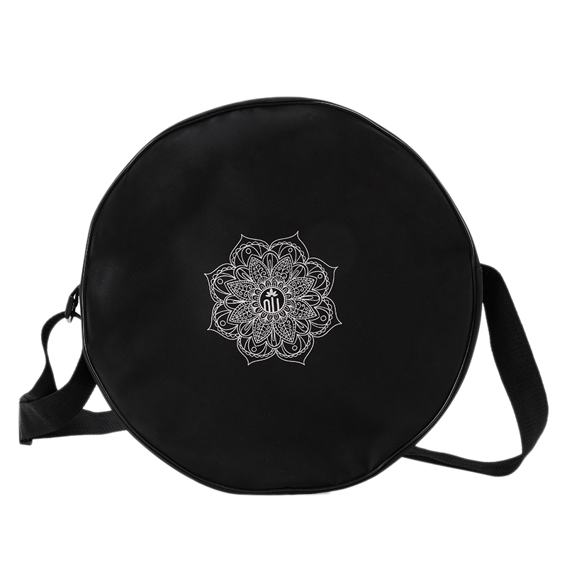 Yoga Wheel Bag Nylon Black Mandala Flower 36x14cm Yoga Circle Bag For Yoga Wheel Large Capacity