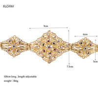 2019 New Fashion Flower Bridal Belts in Gold Hollow Pattern metal wedding dress belts jewelry waist band