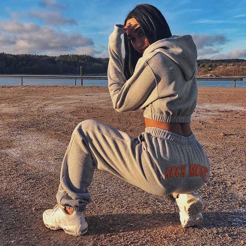 Rockmore Korea Harajuku Broek Vrouwen Brief Gedrukt Hoge Taille Broek Wijde Pijpen Harem Lange Femme Broek Winter Streetwear Fall