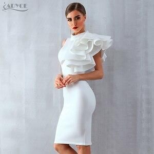 Image 4 - Adyce 2020 yeni yaz kadın kırmızı beyaz ünlü pist parti elbise Vestido seksi kolsuz Ruffles Bodycon Midi gece kulübü elbise