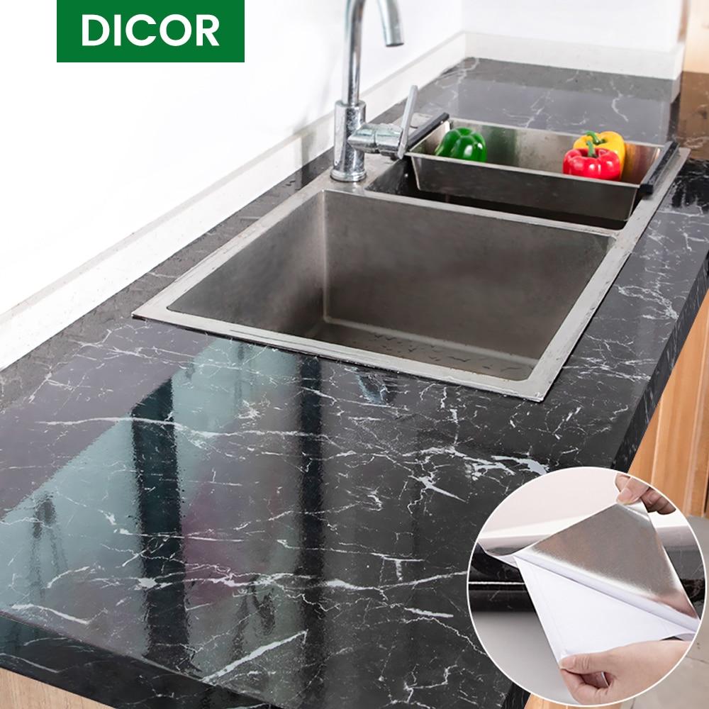 Современные кухонные наклейки водонепроницаемые маслостойкие Классические мраморные настенные наклейки Защита рабочего стола один кусок...