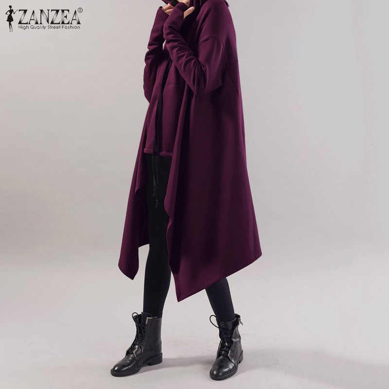 ZANZEA Women Asymmetrical Sweatshirts Ladies Spring Long Sleeve Hoodies Casual Solid Hooded Female Zipper Up Pullover Plus Size