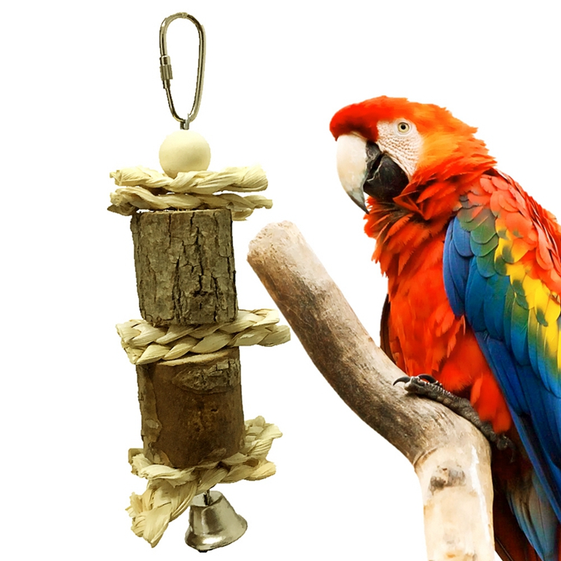font b Pet b font Parrot Bird Chew Bite proof Toy with Bell String Hanging